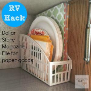 dollar store kitchen organization hack using magazine rack for storage