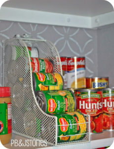 using magazine holder for pantry organization