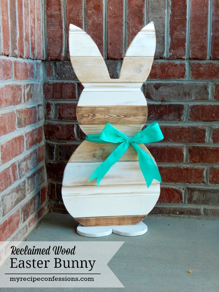 diy wooden bunny statue from reclaimed wood