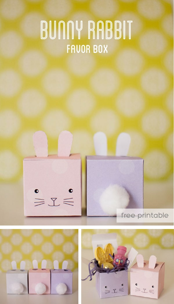 Cute bunny printable favor boxes. Perfect for spring parties or Easter. Lots of other great bunny craft ideas here, too.