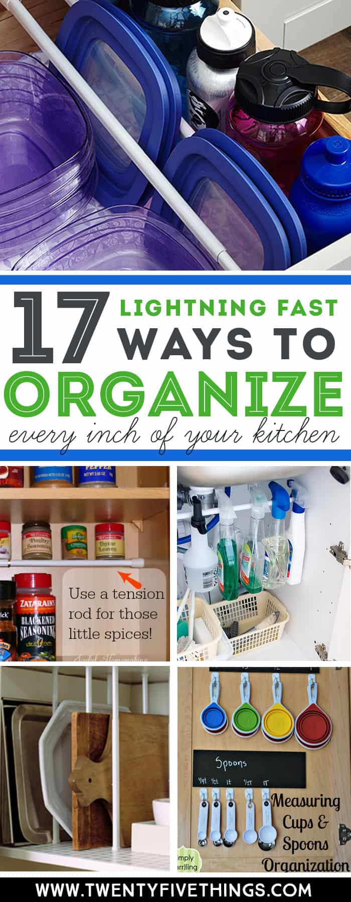 You can organize every inch of your kitchen super-fast with these genius tips. Check out how to use tension rods, command hooks, and file folders for easy ways to organize your kitchen.. #OrganizationIdeas #kitchen