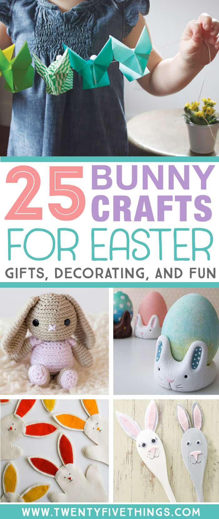 These Easter bunny crafts are so cute. I'm thinking of using some of these Easter ideas for handmade Easter gifts and simple Easter decorating. Click through to see the bunny puppets, clay bunny tutorials, knitting and crochet bunny patterns and more bunny crafts.