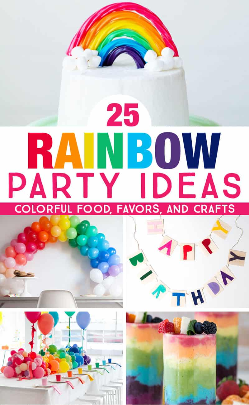 Get colorful rainbow party ideas that are perfect for kids rainbow birthday parties and rainbow baby showers. So many bright, colorful ideas for rainbow party food, favors, and crafts! #rainbow #kidsparty #babyshower #birthdayparty