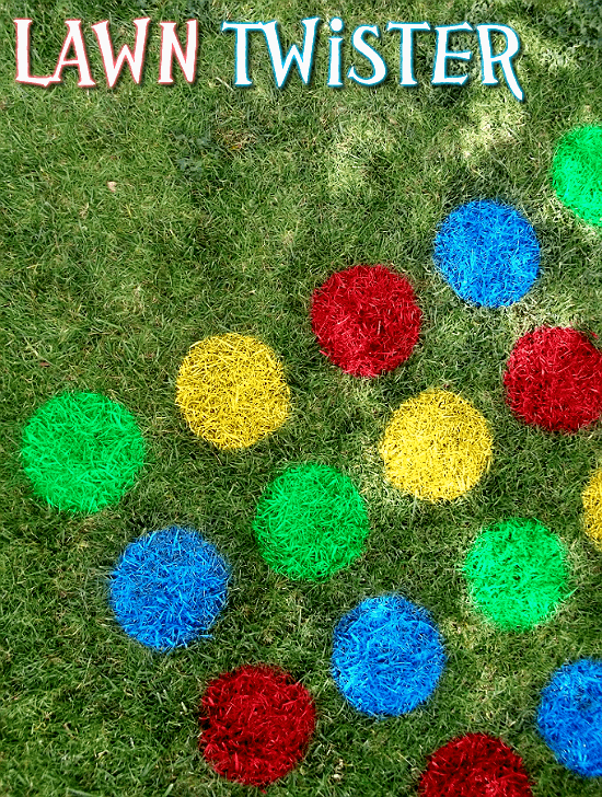 Rainbow Party Ideas, make a DIY Lawn Twister game with the colors of the rainbow for a party game