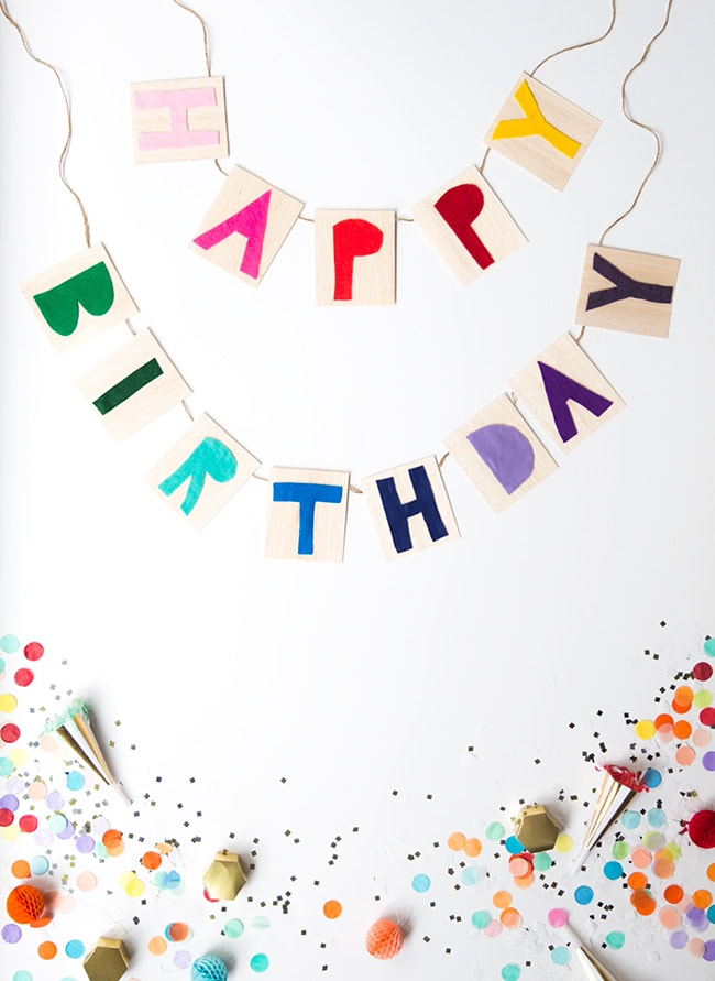 Rainbow party ideas: DIY happy birthday banner rainbow party decor