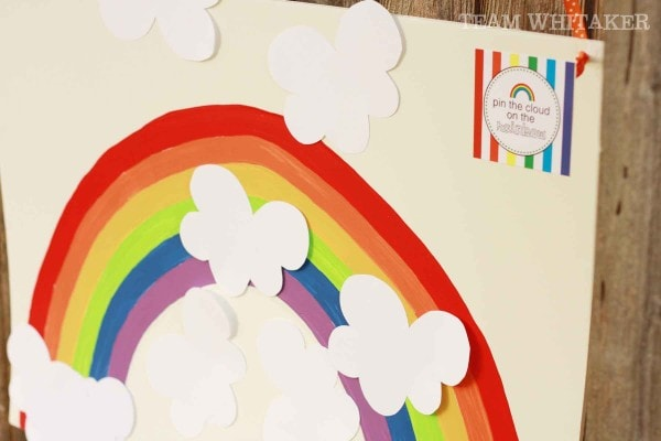 Rainbow Party Ideas, make this Pin the Cloud on the Rainbow game for a kids rainbow party activity
