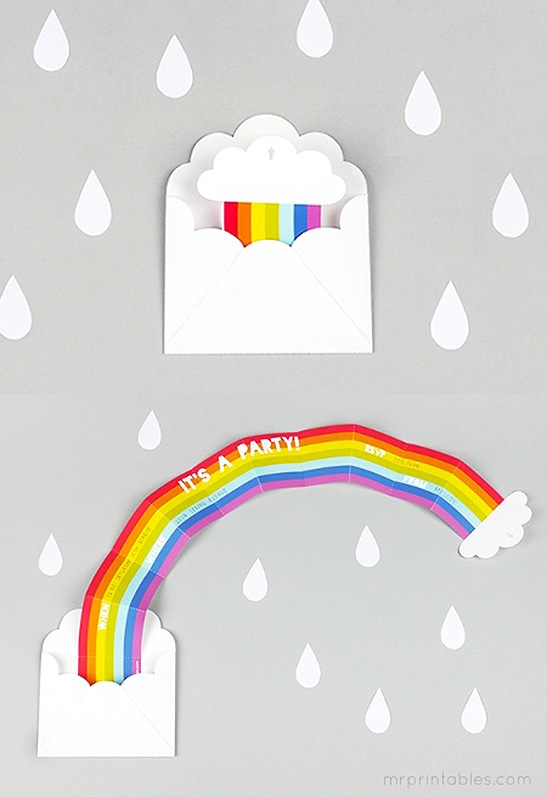 Rainbow party ideas: See how to make this DIY Rainbow Party invitation with free printable