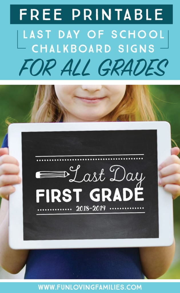 Girl holding last day of first grade 2018-2019 sign