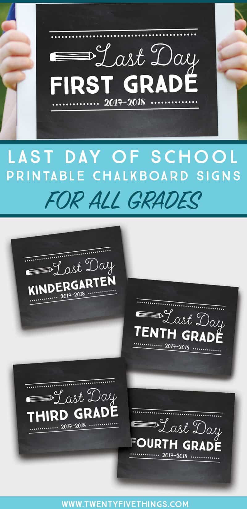 last day of school printable chalkboard signs all grades