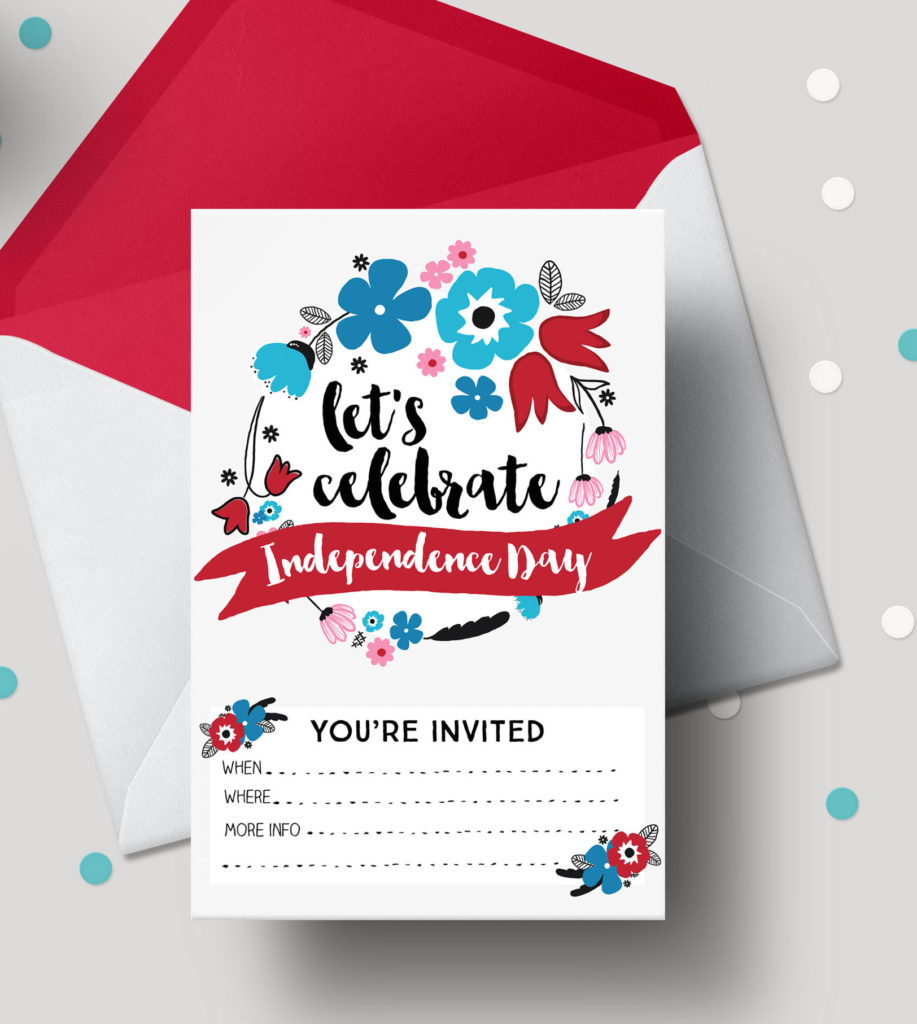 4th of July Free Printable Invitations, Independence Day Florals