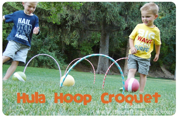 Create your own hula hoop croquet backyard game, plus really great ideas for fun DIY backyard party games to try.