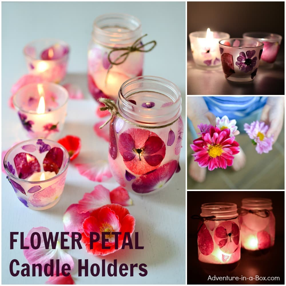 handmade gift idea for Mom: flower petal candle holders.