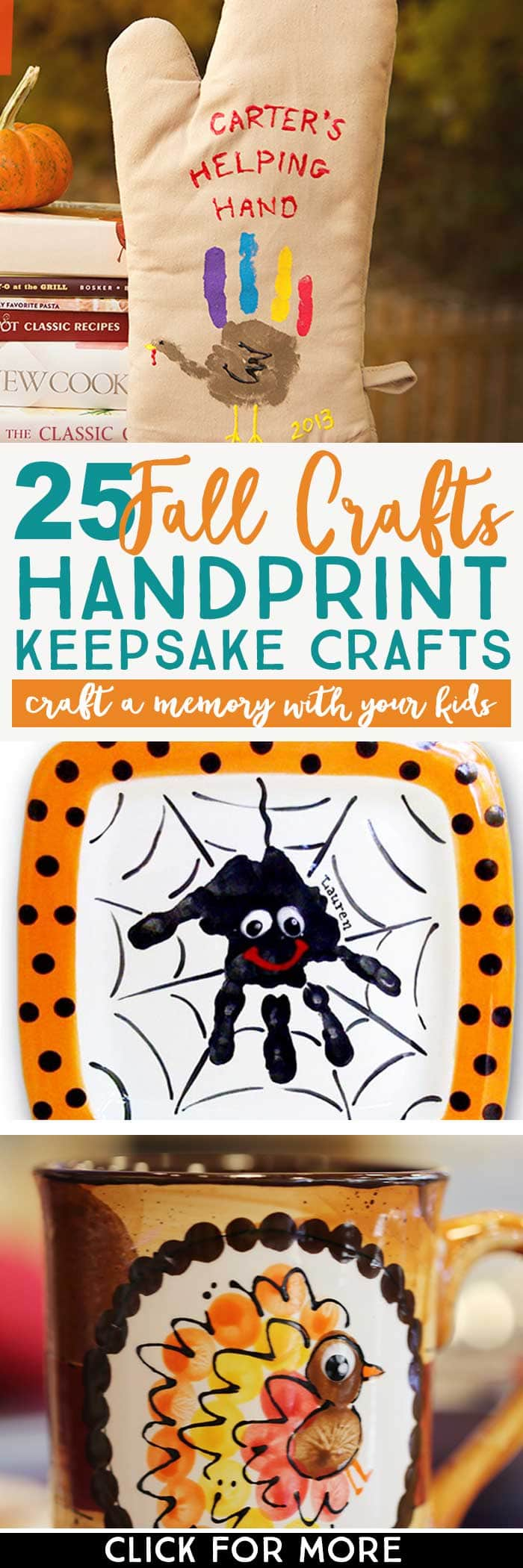 Make a fall memory with these 25 Fall Handprint Crafts. Click over to see all of them for Fall, Halloween, and Thanksgiving.