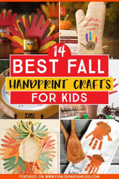 love these Fall handprint crafts for kids. These make great keepsake gifts for family and they're so cute! #fall #handprintcrafts #fallcrafts #fallcraftsforkids #funlovingfamilies