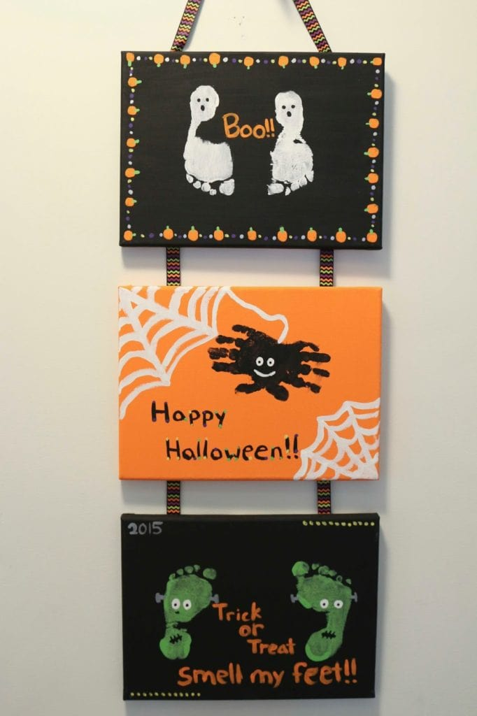 DIY halloween handprint and footprint signs