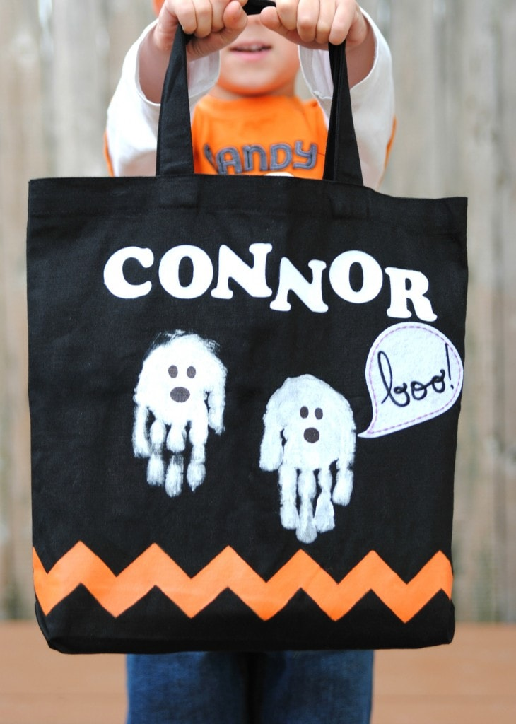 Halloween handprint ghosts trick or treat tote