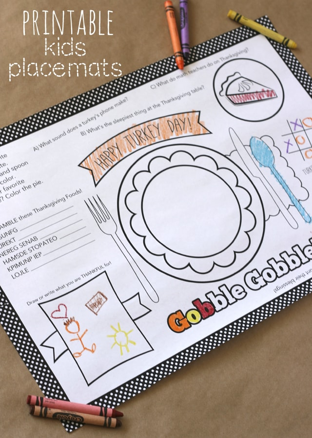 Printable Thanksgiving Activity placemat for Kids Thanksgiving Table