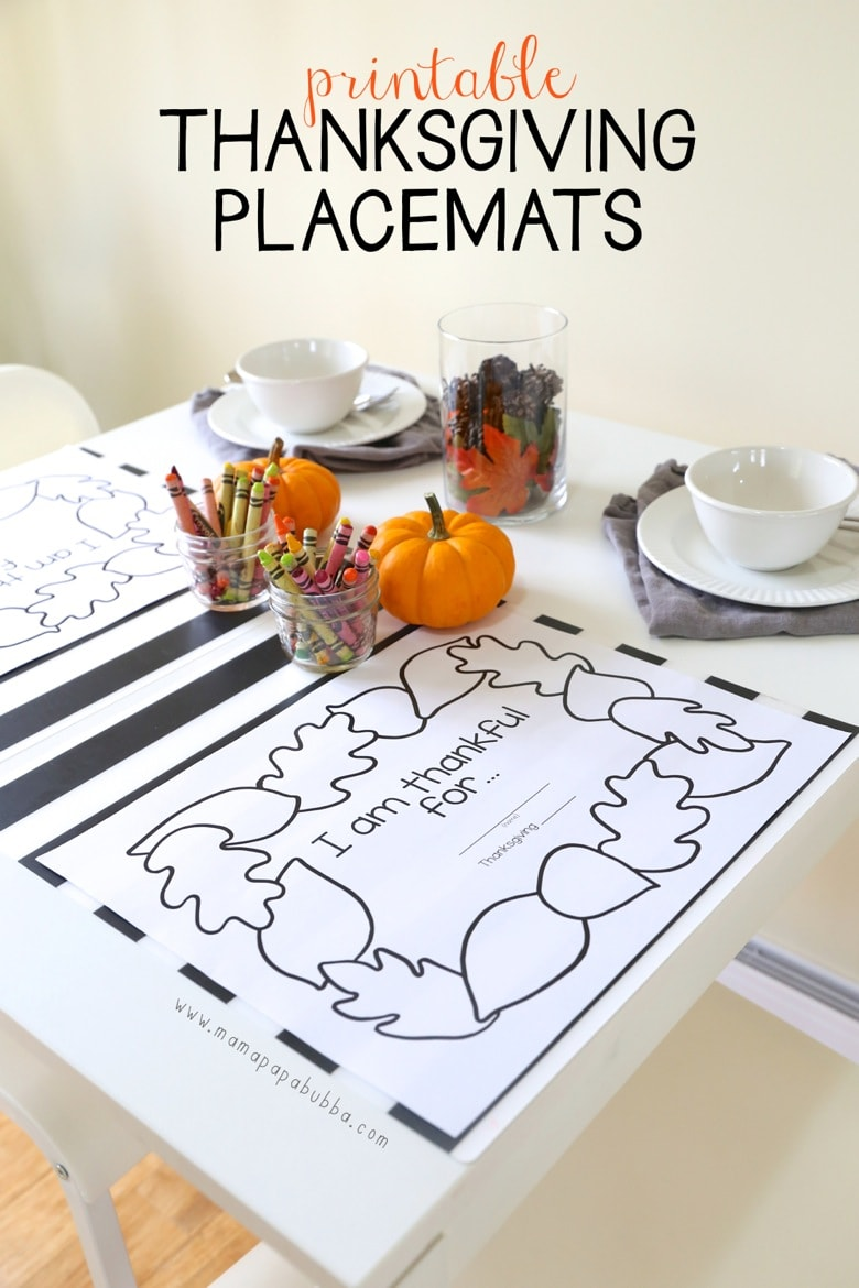 Use these sweet, simple printable placemats for your Thanksgiving kids table. More kids table ideas on the blog.