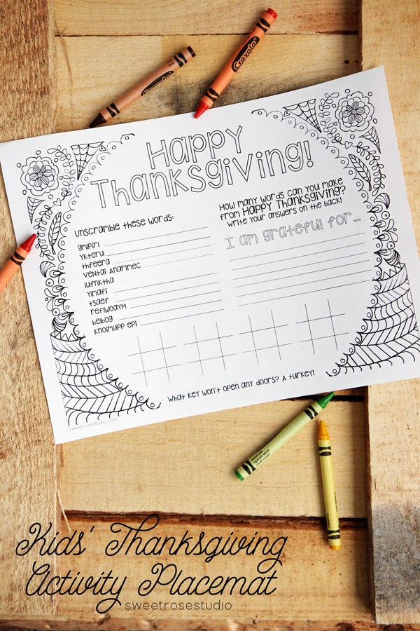Download and print this Thanksgiving placemat activity sheet for a funThanksgiving kids table.
