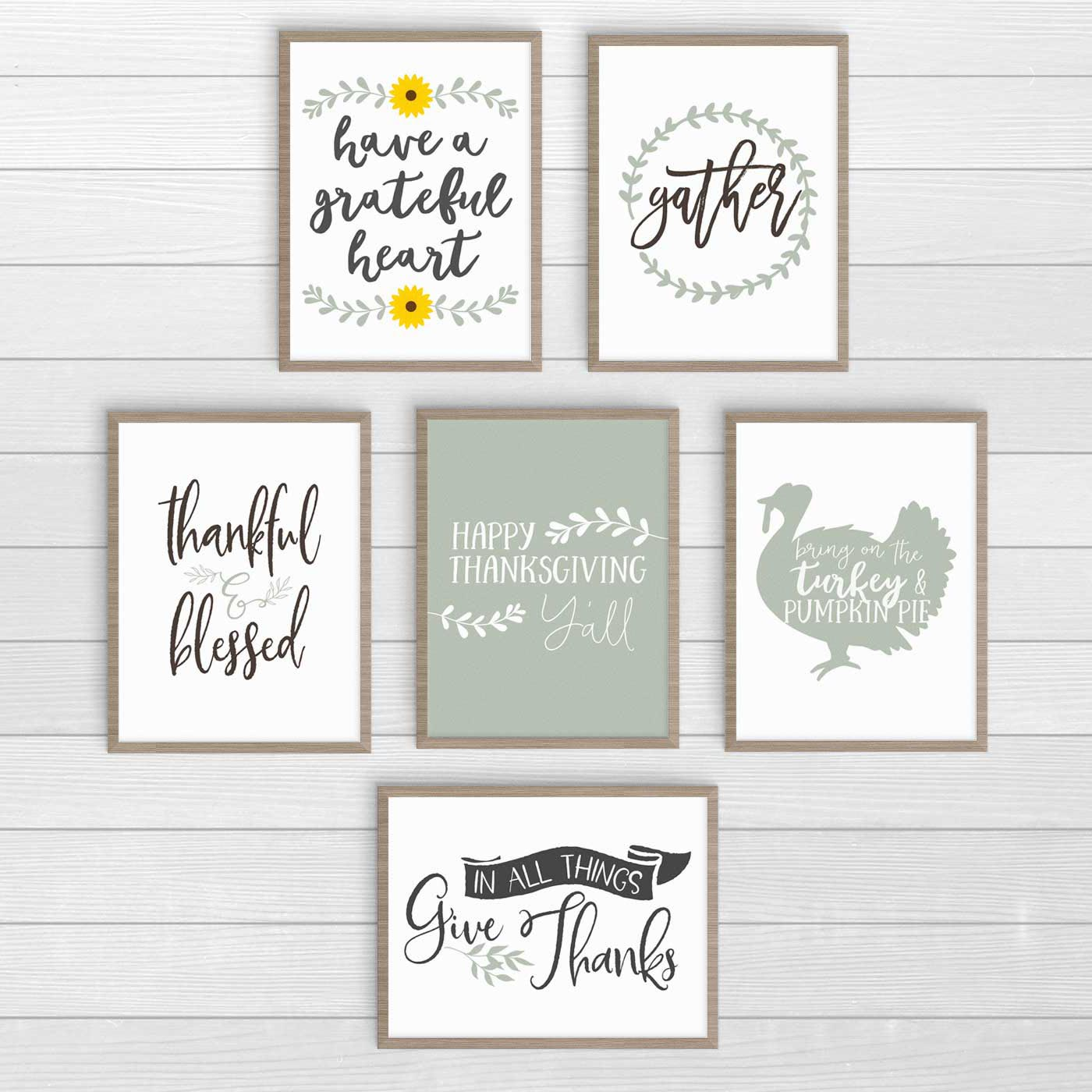 6 Farmhouse Thanksgiving prints you can print for free. Click over to download and to check out the others. #FarmhouseThanksgivingDecor #FreePrintables