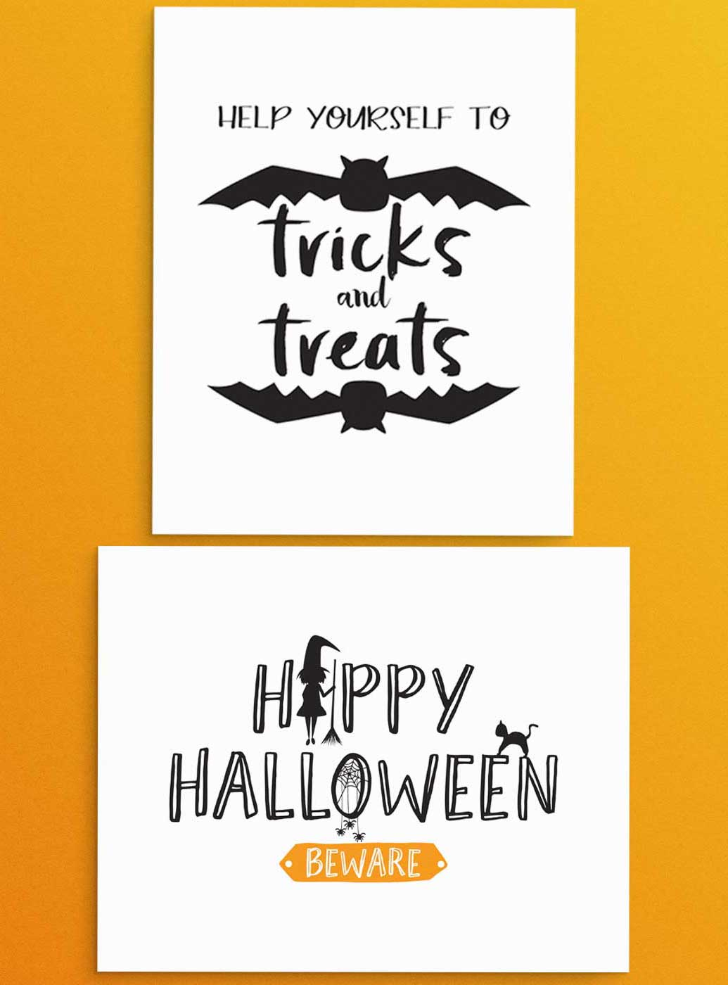 "Free Halloween party printables signs that read, ""Help yourself to Tricks and Treats"" and ""Happy Halloween - Beware"". Use for entry way or snack and party favor table. Orange and Black color scheme."