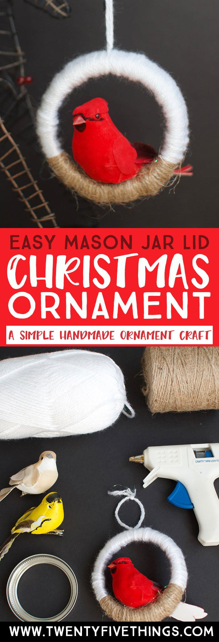 Make this easy mason jar lid ornament for Christmas this year. Grab your craft birds from the Dollar Tree and scrounge your kitchen drawers for those extra canning lids. Click through for the details. #DIYChristmasOrnaments #handmadeChristmas #EasyChristmasCrafts #EasyDIYOraments