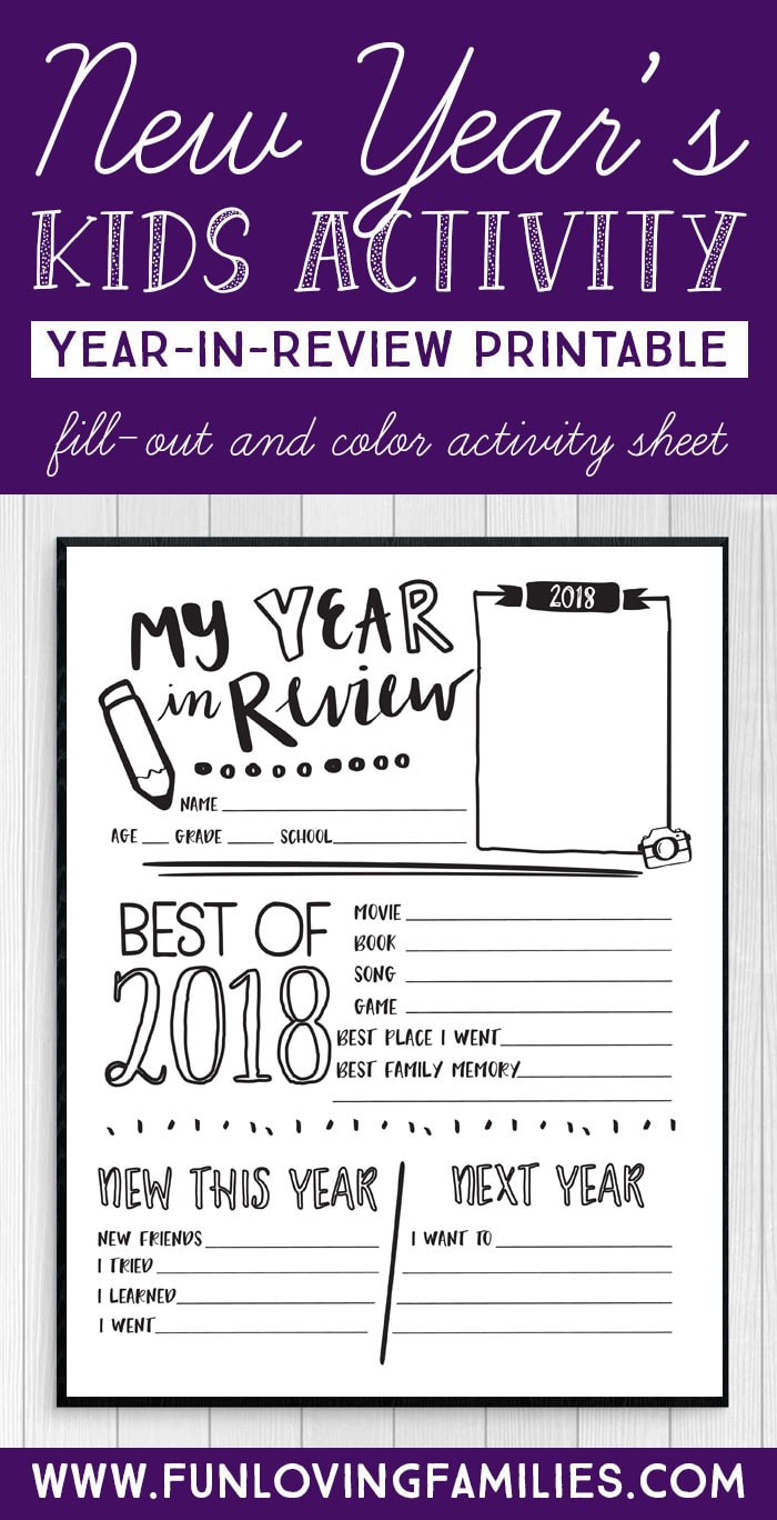 New Years kids activity sheet and questionnaire to help kids reflect on 2018. #newyearseve #kidsactivity #kidscoloringsheet #coloringsheet2018 #yearinreview