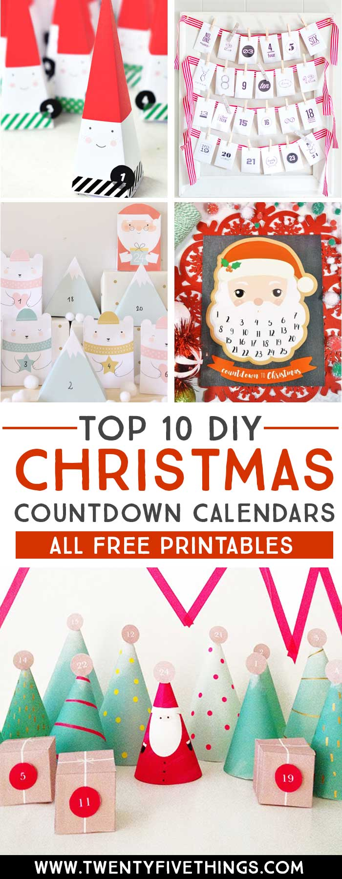 Check out our picks for the top 10 Free printable Christmas countdown advent calendars. All of these are budget friendly and super-easy to create for your own family. Click through to see all 10 DIY printable advent calendar ideas. #ChristmasCountdown #FreePrintables #DIYChristmas #AdventCalendars