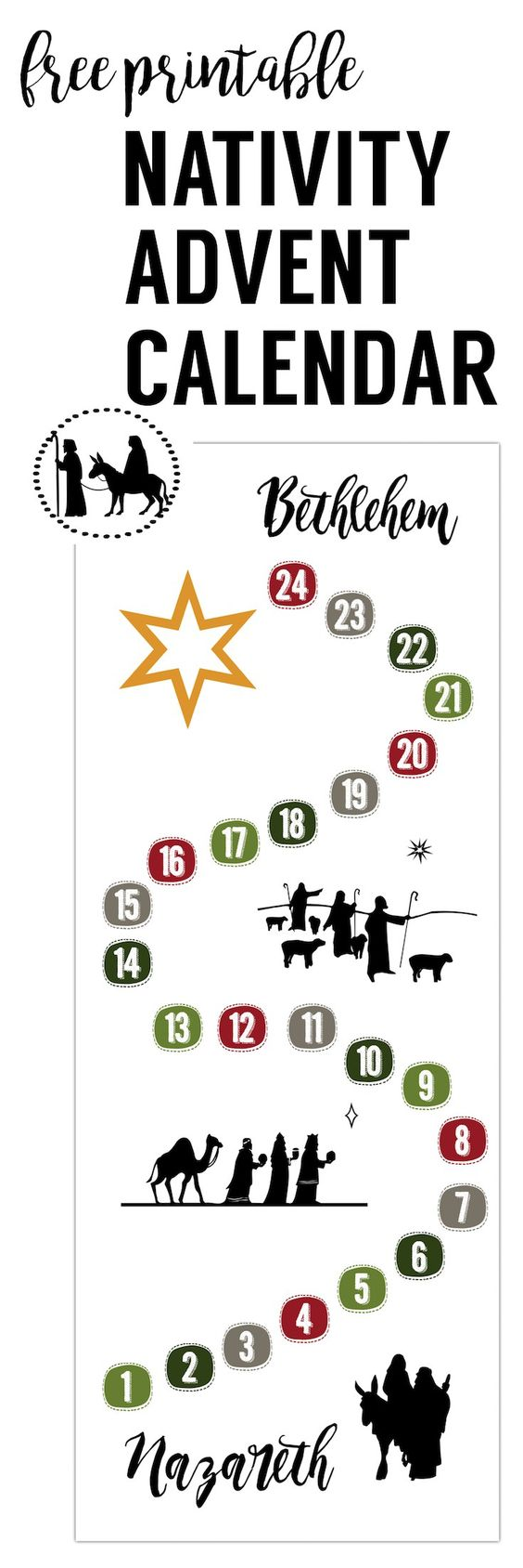 Print this Nativity Advent Calendar at home to help the kids remember the true meaning of Christmas. #DIYAdventCalendar #FreePrintable #Nativity