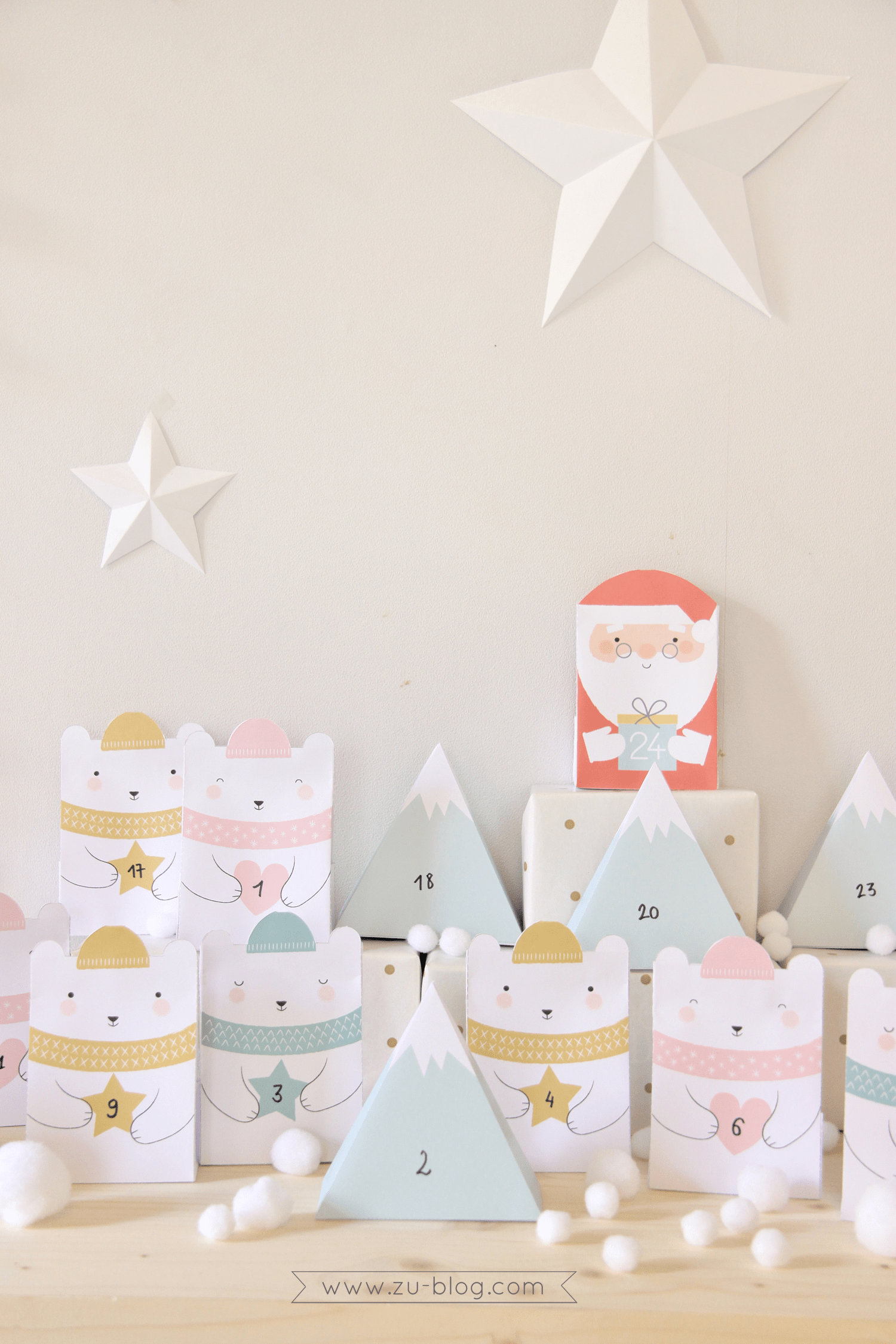 This printable advent calendar is so adorable. Download and print the Santa and bears, then follow the directions on the website for folding. You can also fill the insides with treats before folding shut. Super cute DIY Christmas Countdown idea! #ChristmasCountdown #DIYAdventCalendar #FreePrintable