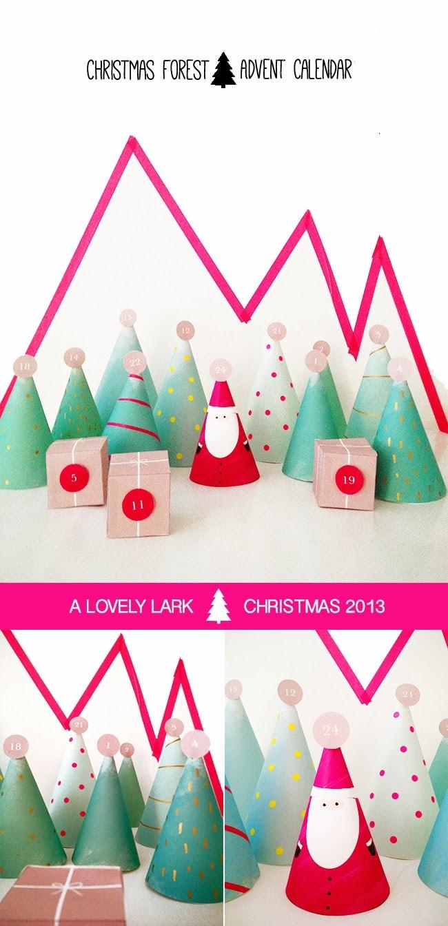 Santa and trees DIY Printable christmas countdown adent calendar