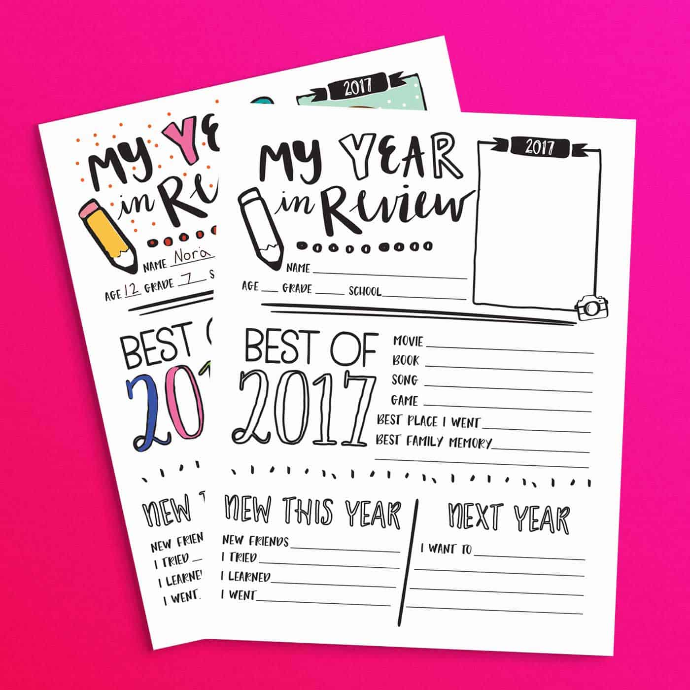 Download and print this Year in Review printable sheet for the kids to fill out and color on New Year's Eve. It's always fun to see what they have to say about the year and to share each others answers. #KidsActivities #FreePrintable #2017