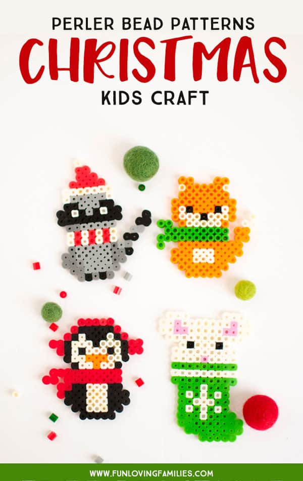 Use our free Christmas perler bead patterns for fun and easy kids Christmas crafts. #christmascrafts #easycraft #perlerbeads #meltybeads