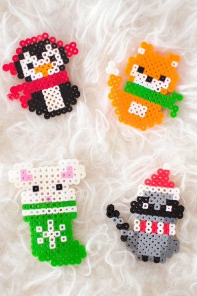 Make these adorable Christmas melty bead ornaments with our printable patterns.