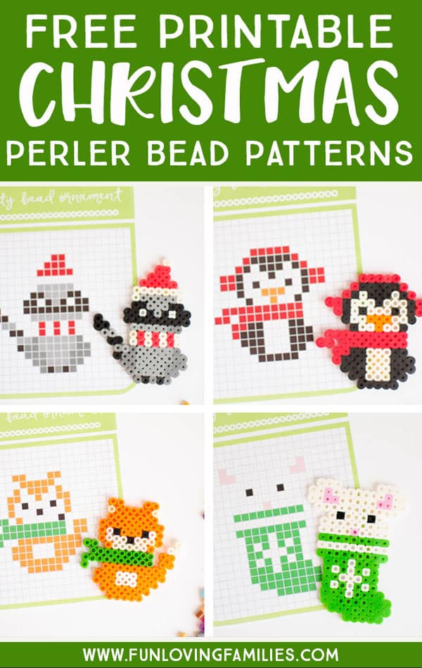 Free Christmas perler bead templates for melty bead crafts. Fun and easy craft for kids.