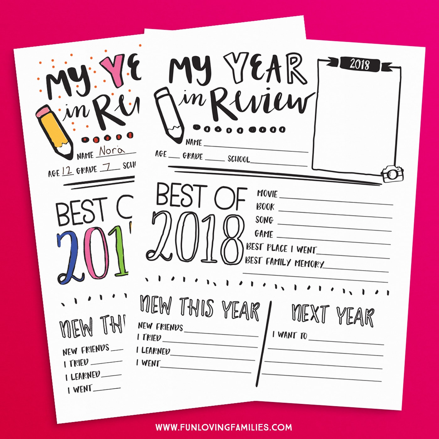 have the kids fill in and color this 2018 year in review questionnaire fun new