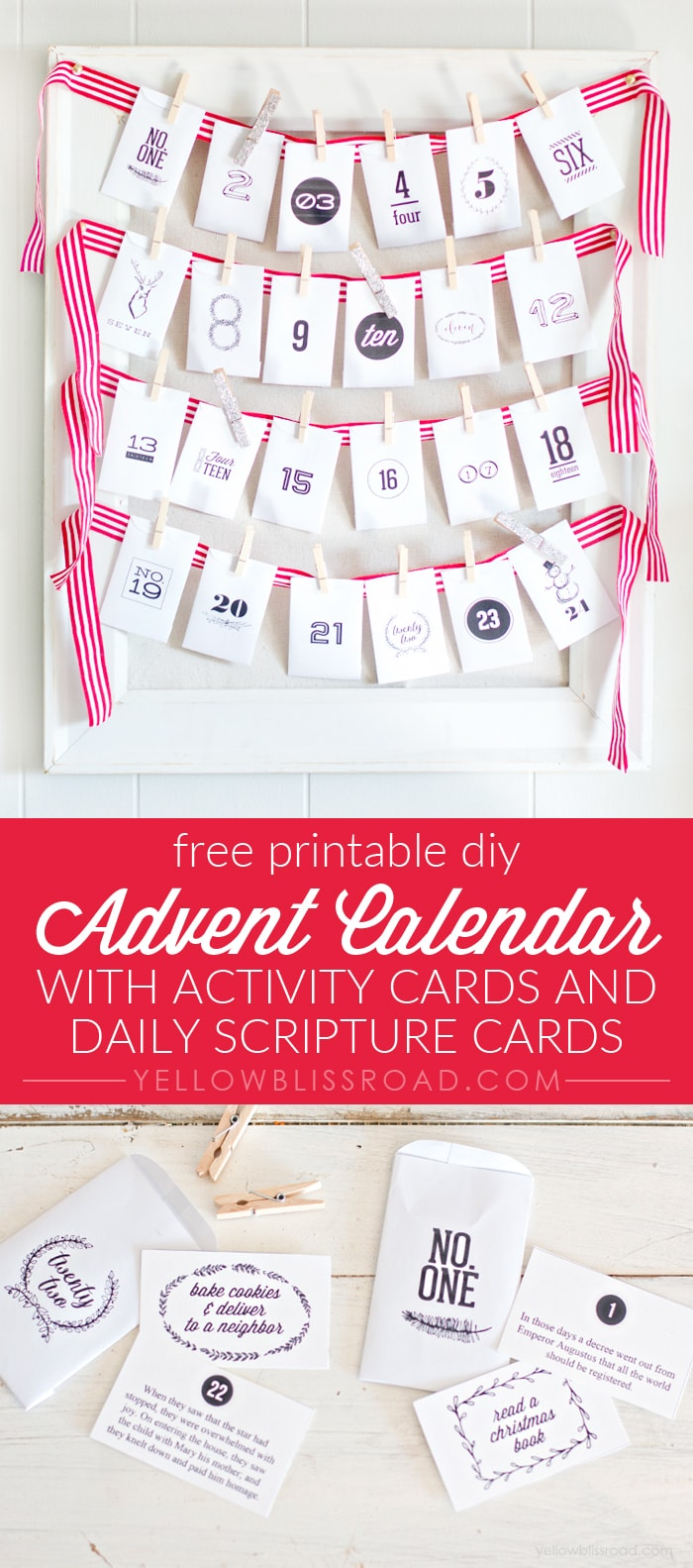 This free printable Advent Calendar set comes with printable envelopes, activity cards, and daily scripture cards. #Nativity #DIYAdventCalendar #FreePrintableChristmas