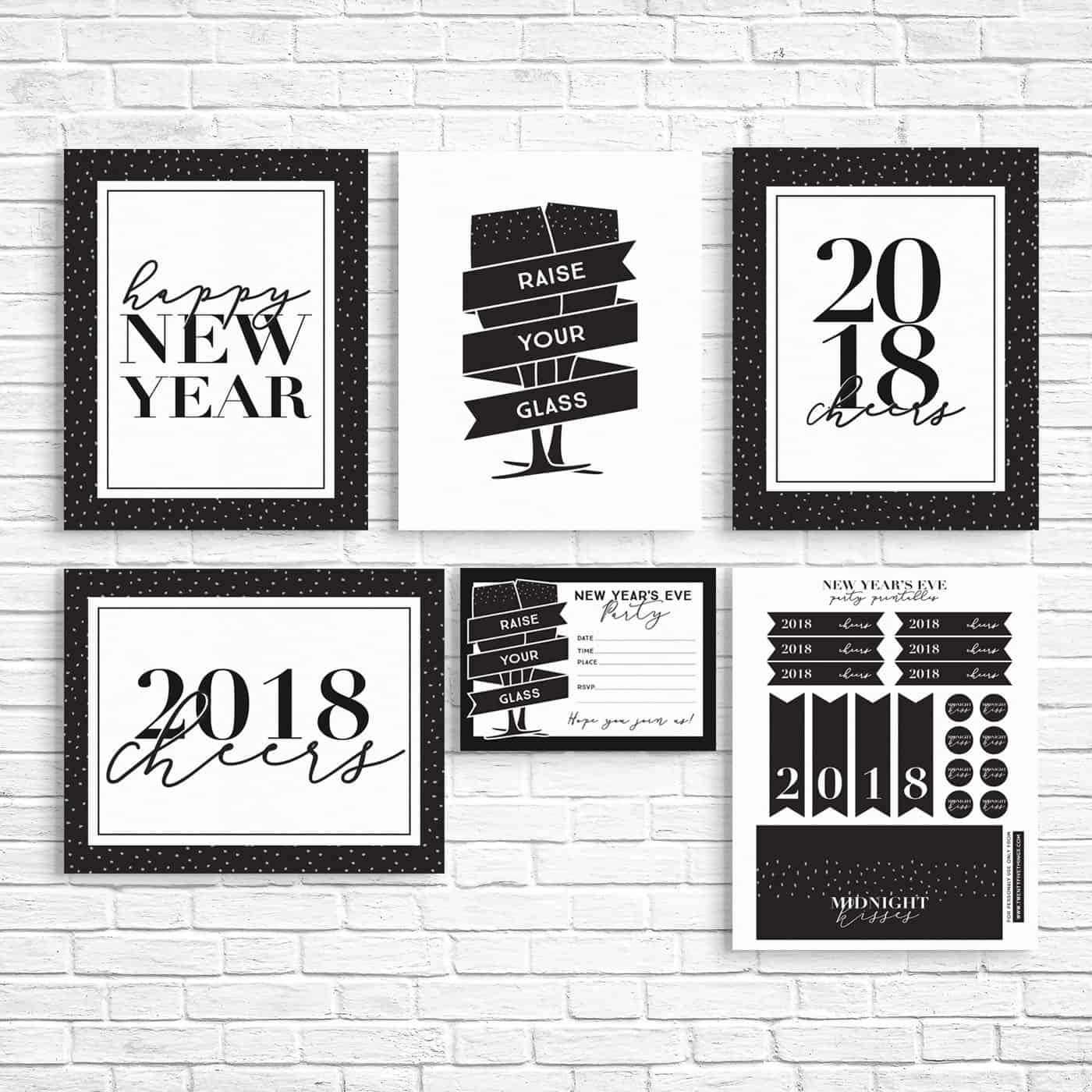 Click through to check out these free New Year's Eve party printables. Some are for 2018, but others can be used any year. Includes New Years decor, party favors, and more. #NewYearsEveParty #FreePrintables