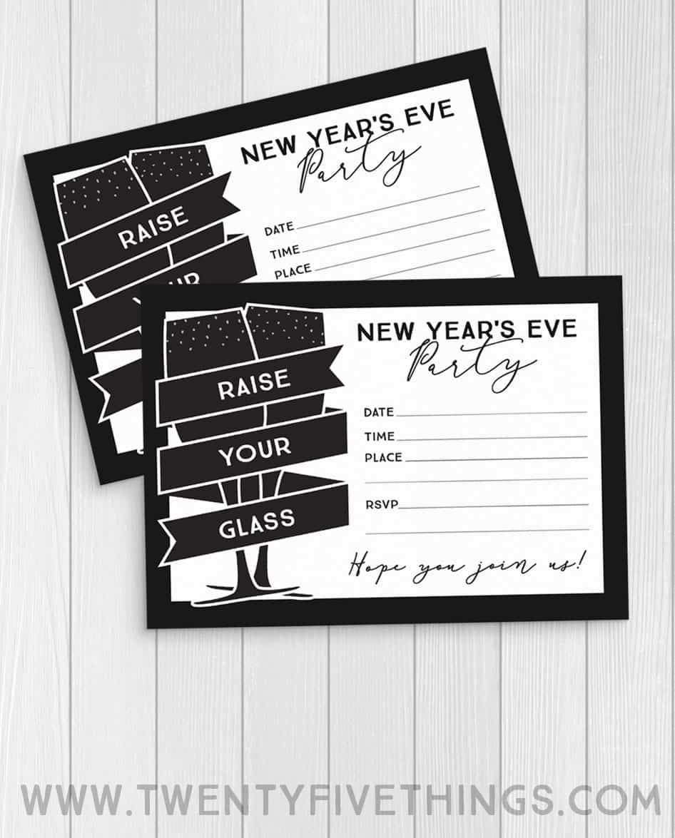 Print these New Year's Eve party invitations at home for easy New Year's Eve party ideas. #FreePrintable #NewYearsEveParty