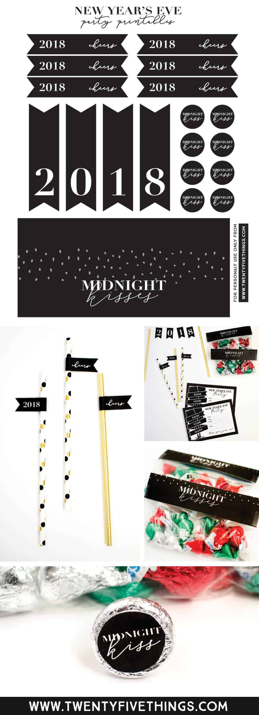 Free download New Year's Eve Party printables. You can download and print your own New Year's Eve party invitations and Midnight Kisses party favors. The site also has some free printable New Year's Decor to check out. #NewYearsEveParty #NewYear2018 #FreePrintables #NewYearsPartyFavors