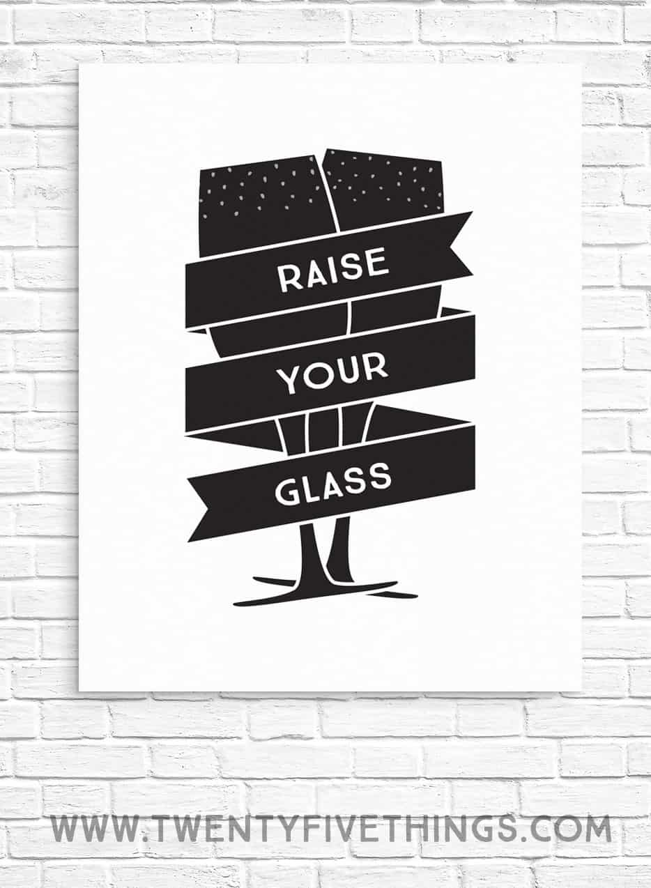 I love this black and white Raise Your Glass print for a New Year's Eve party. Also lots of other New Years decor and party printables here. #FreePrintables #NewYearsEve