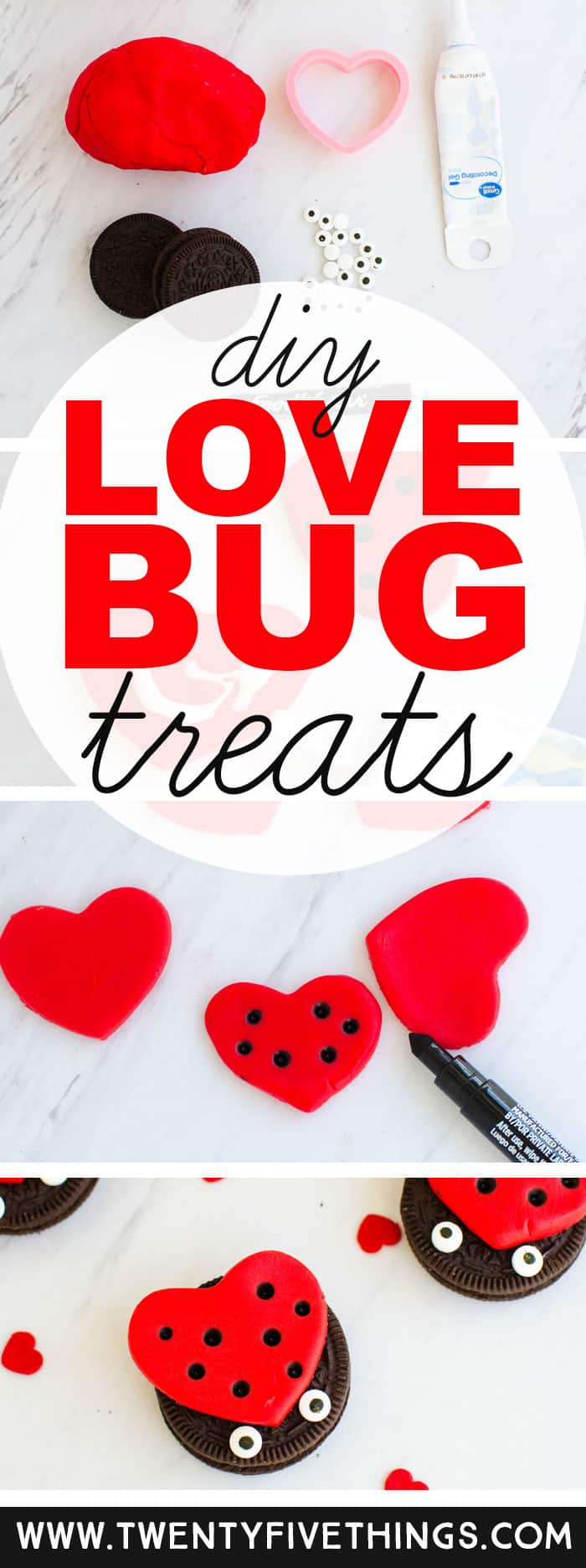 These adorable diy love bug treats are so easy to put together, I made them with my 10 year old! They're perfect for a simple Valentine's Day snack, and are cute enough to use for your Valentine's Day party. #ValentinesDay #FoodCraft #LoveBug