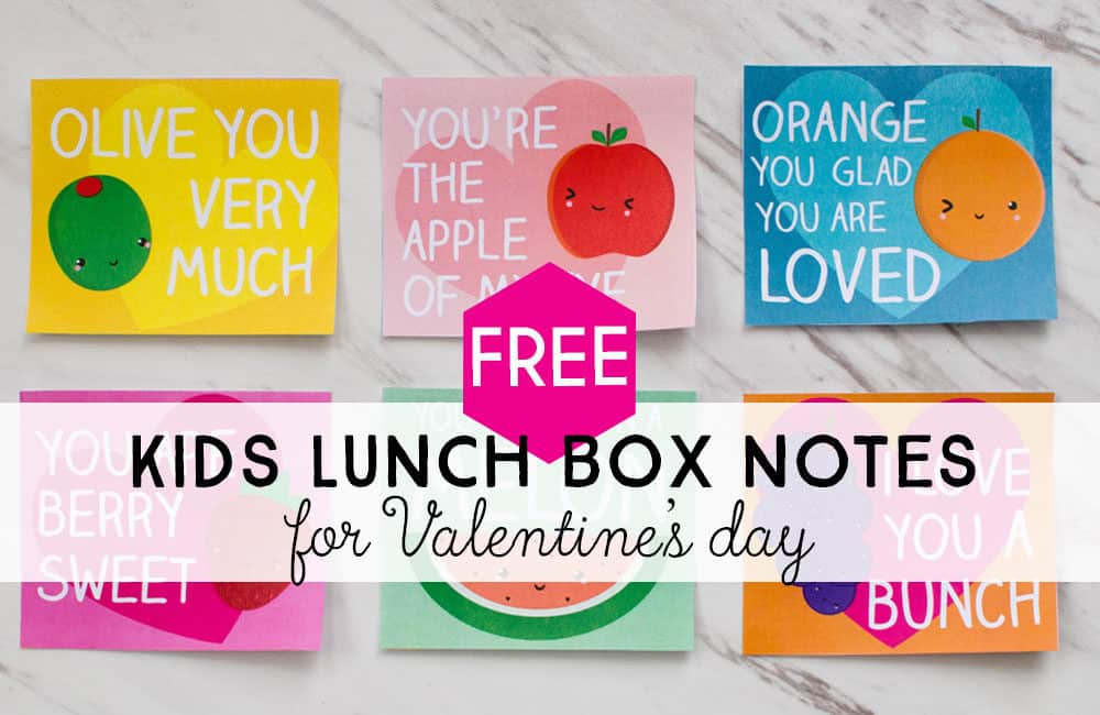 Valentine's Lunch Box Notes for Kids