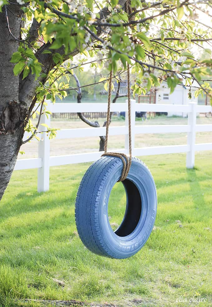 Learn how to hang a tire swing (via Claire Inspired) to add some charm - 25+ Fun DIY Backyard Play Areas The Kids Will Love - Fun Loving Families
