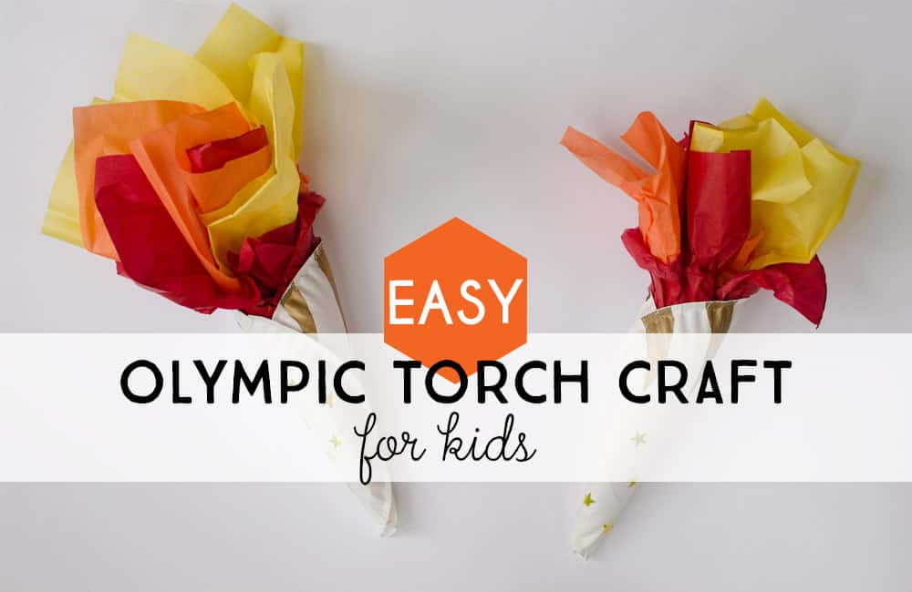 Easy Olympic Torch Craft for kids from paper plates and tissue paper.