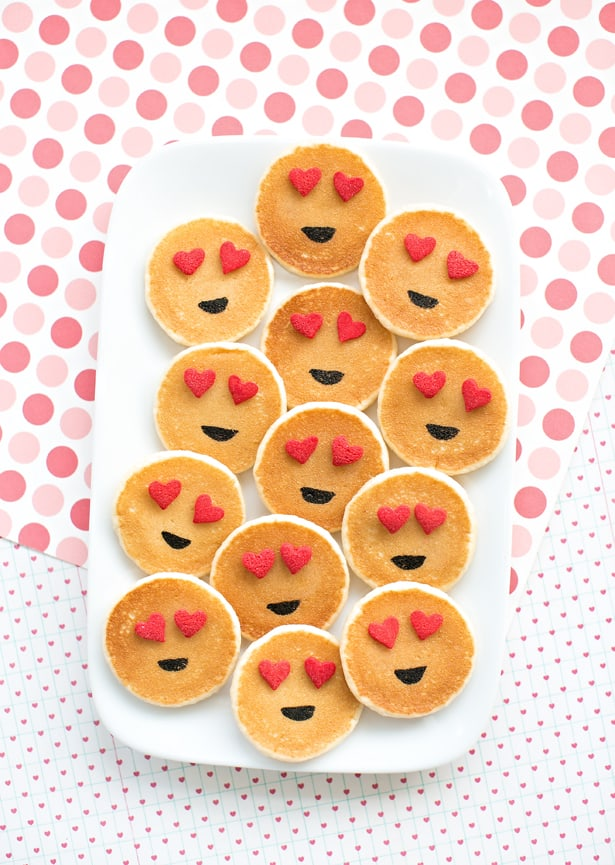 heart-eye emoji pancakes for valentine's day
