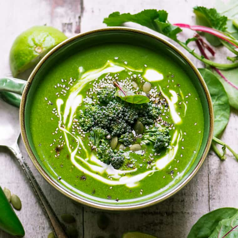 Get the recipe for this amazing green soup that is full of immune-boosting ingredients. #StayHealthy #Soup