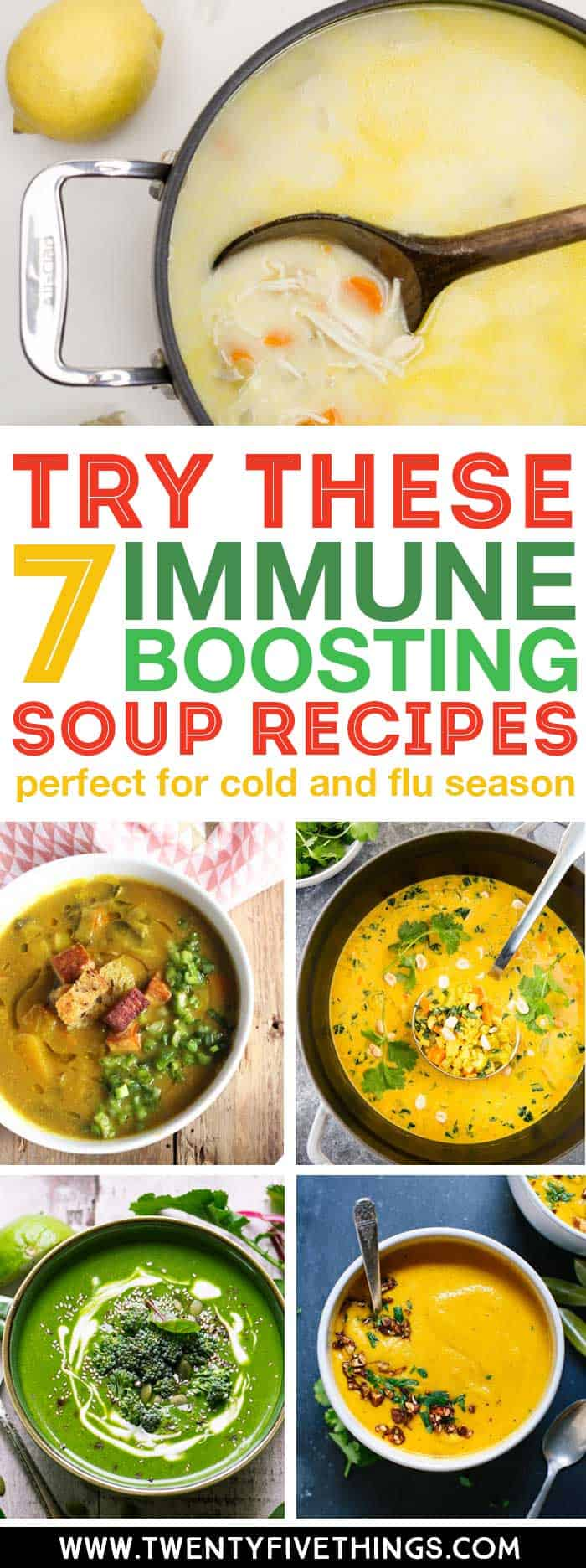 These soups look so good, and theyre loaded with amazing immune boosting ingredients. Warm your soul and stay healthy by trying one of these immune boosting soups this week. #SoupRecipes #HealthyRecipes