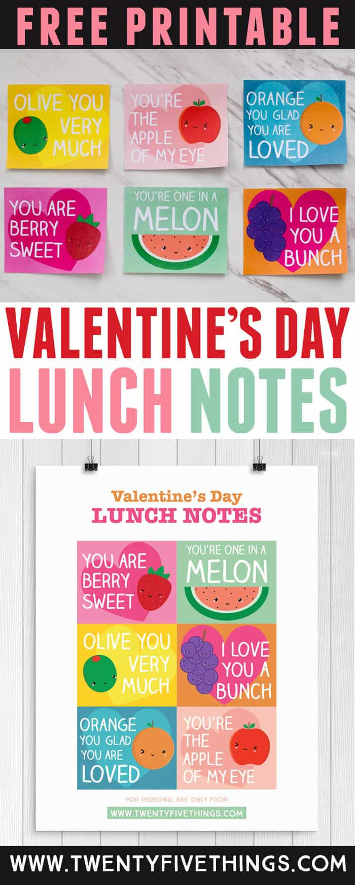 Pack some sweet lunch box notes in your kids lunch to remind them how much you love them! These lunch box notes are perfect for Valentine's Day, but can also be used any time of the year. Click through to download the free printable! #Valentines #Printables #KidsLunchIdeas