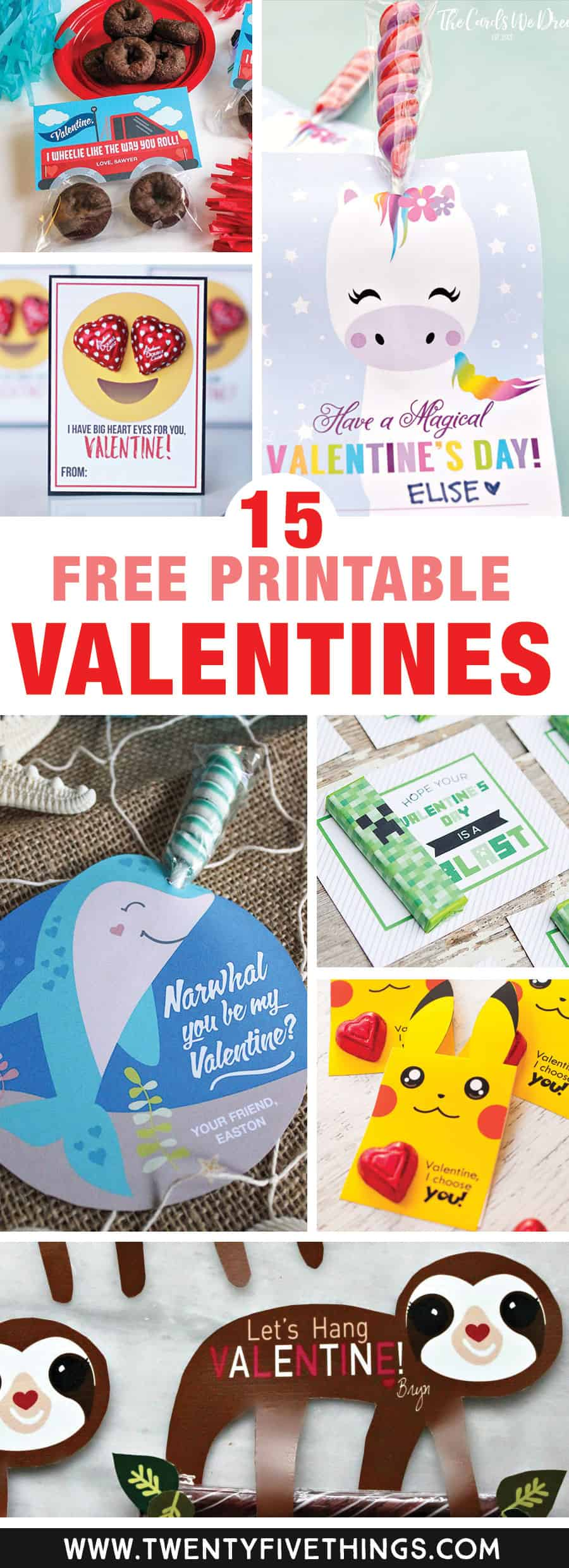 The sloth is beyond cute, but really all of these free printable Valentines for kids are perfect for my kids classroom Valentines. The printables are perfect for people like me who wait until the last minute! They're so easy to print at home. Great list!